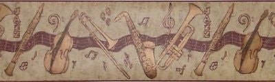 York Jazz Instruments Wallpaper Border - GY8674B