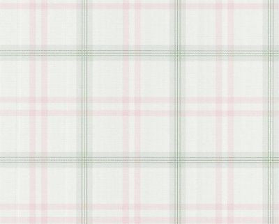 Chatham House Pink/Green Plaid  Damask Scroll Wallpaper - 112-48379