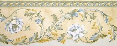 Brewster Scalloped Floral Leaf Scroll Wallpaper Border - 86B72850DC
