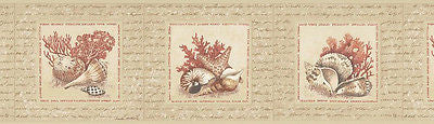 Brewster Tan/Coral Sea Shell Wallpaper Border - 144B07137