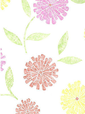 Brewster Zinnia Yellow, Pink & Coral Modern Floral Wallpaper - 141-62116