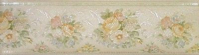Brewster Off White w/Pastel Flower Clusters Wallpaper Border - 946B71552