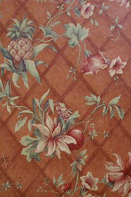 S.A. Maxwell Burnt Orange Tropical Pineapple Wallpaper - 7411-210
