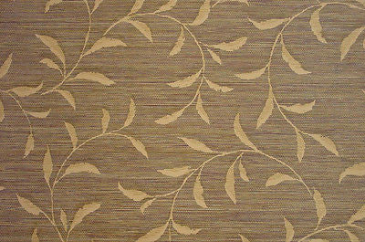 Brewster Faux Brown and Gold Leaf Scroll Textured Grasscloth Wallpaper- 42718-9