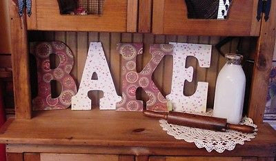 """BAKE"" Decorated 9"" Multi-Colored Letters  - bk129"