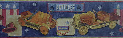 Antique Wooden Firetrucks (blue) Children's Wallpaper Border - 7055-057B