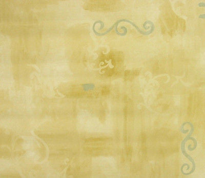 Living Walls Tan Faux  with Blue Scroll Wallpaper - 8140-43/5A