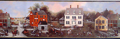 Brewster Donna Dewberry Country Village on the River Wallpapr Border - WM96215