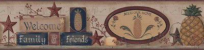 "York ""Welcome Family & Friends"" (brown) Wallpaper Border - BG1625BD"
