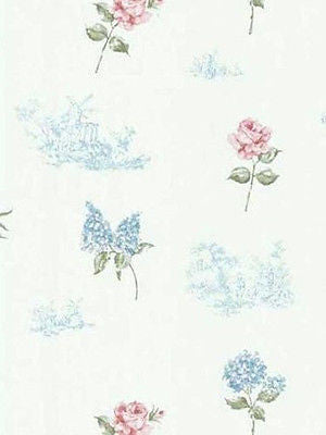 Brewster White, Blue, Green, Pink Rose, Hydrangea, Toile Wallpaper - FD45764