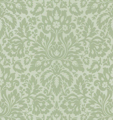 Brewster Sage Damask Wallpaper - 75-62909