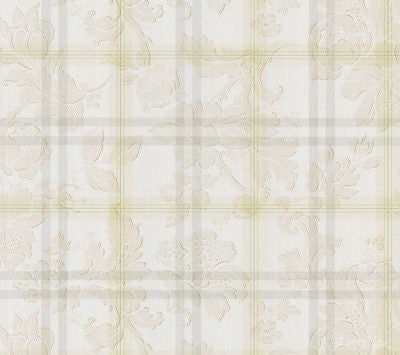 Chatham House Cream/Grey Plaid  Damask Scroll Wallpaper - 112-48305