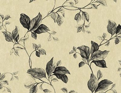 Blonder Designer Black & Tan Leaf Trail Wallpaper - VN60200