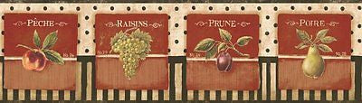 York Vintage Fruit Labels Wallpaper Border - PA5532BD