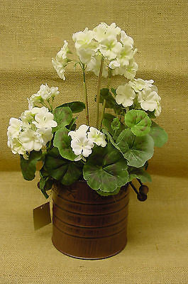 Brown Metal Container with White Geraniums - JHE4821