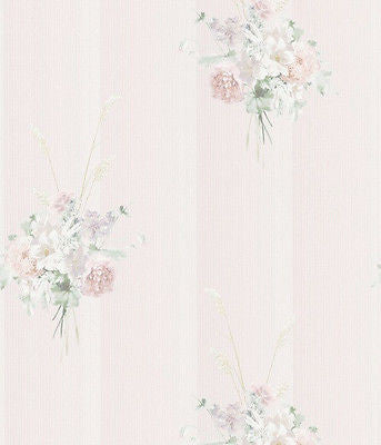 Madame Pink Floral Textured Stripe Wallpaper - 88407