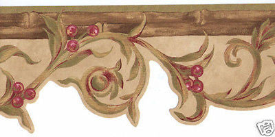 Scroll with Berries and Bamboo Wallpaper Border - 7267-447B
