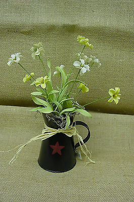 Small black Pitcher with Red Star filled with Flowers - GM728