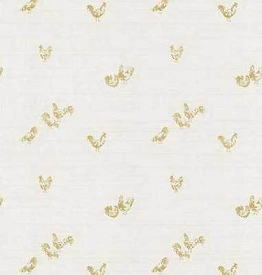 Brewster Cream & Gold Rooster Wallpaper - FD45727