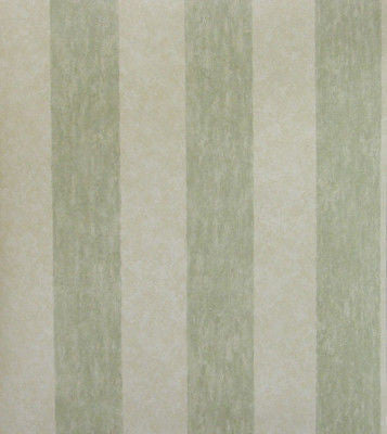 Seaweed Green and Cream Faux Stripe Wallpaper - 7064-838