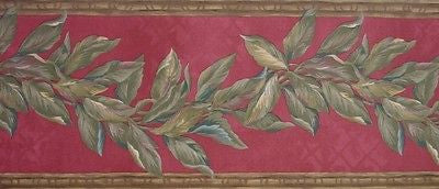 S.A. Maxwell Red Trailing Leaves Wallpaper Border - 7213-345B