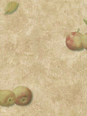 Linden Street Brown Faux w/ Apples & Pears Wallpaper - YR9428