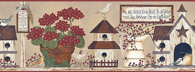 "York ""We are nearer Gods heart in a Garden"" (tan) Wallpaper Border - BG1605BD"