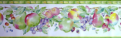 Eisenhart Wallcoverings Bright Green Fruit Wallpaper Border - SKT12311