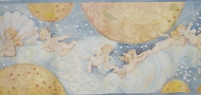 Fine Decor Cherubs Moon Stars Blue Wallpaper Border B 2552