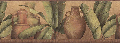 Brewster Clay Pots and Palm Leaves Wallpaper Border - FDB07142