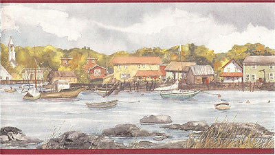 Brewster, Multi Colored Boats in the Harbor Wallpaper Border - 332B39708