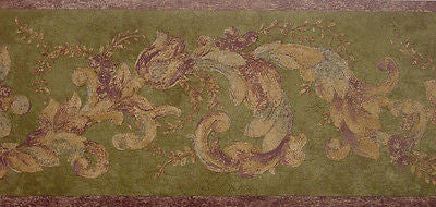 Vintage Tuscany Dark Olive Green/Plum Scroll Wallpaper Border -7245-883B