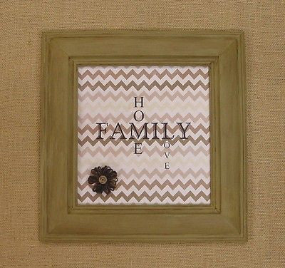 "FAMILY  14"" x 14"" Framed Art in light weight Olive Distressed Frame - 61015"