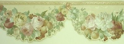 Satin Fruit and Flowers Scalloped Wallpaper Border - 937B22517