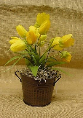 Small Yellow Flowers in a dark brown Metal Container - 00
