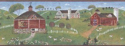 Brewster Country Barns with Chickens (Burgundy) Wallpaper Border - 7064-729B