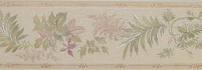 Brewster Pastel Textured Leaves Wallpaper Border - B73377M