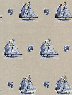 Brewster Sail Boat & Shells (taupe, blue) Wallpaper - 144-59609