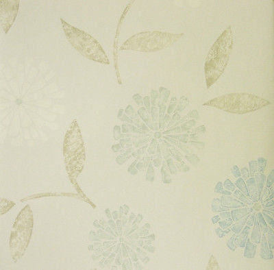 Brewster Zinnia Blue, White & Teal Modern Floral Wallpaper - 141-62115