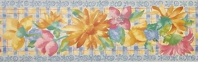 Brewster Painted Flowers Wallpaper Border - B0436