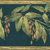 Brewster Black Tropical Berries Wallpaper Border - FDB08572
