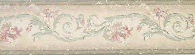 York Weathered Floral Scroll Wallpaper Border - SX3001B