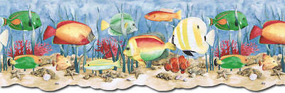 Blonder Tropical Fish Under Water (dark blue) Wallpaper Border - PB58036DB