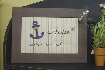 "Hope anchors 12"" x 17"" Framed Art in light weight Brown Wood Look Frame - 7016"