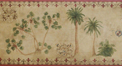 York Tropical Vintage Palm Tree (red) Wallpaper Border - TG2130B