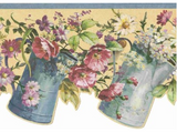 Old Pitchers & Flowers Scalloped Wallpaper Border - 236B55300DC