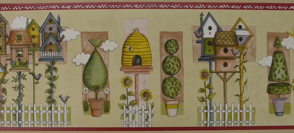 Brewster Birdhouses and Topiaries Multi Colored Wallpaper Border - 238B53242