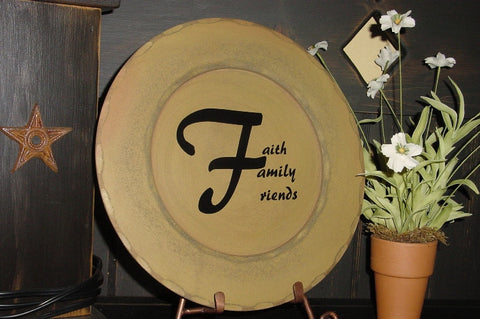 """Faith, Family, Friends"" Golden Yellow Wooden Display Plate  - 28136 B"
