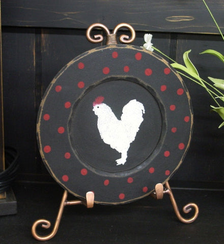 """Rooster"" Small Black Wooden  with red dots Display Plate  - 28136"