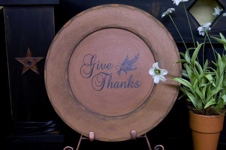 """Give Thanks"" Wooden Warm Orange Display Plate  - 28136 B"